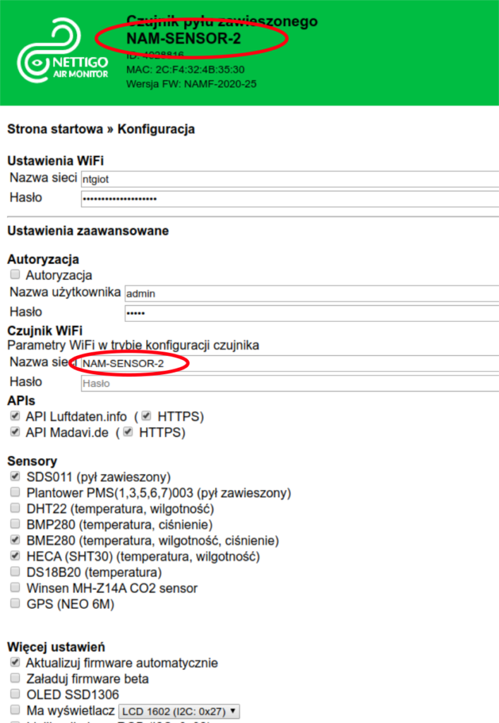 Konfiguracja nazwy w nowym firmware